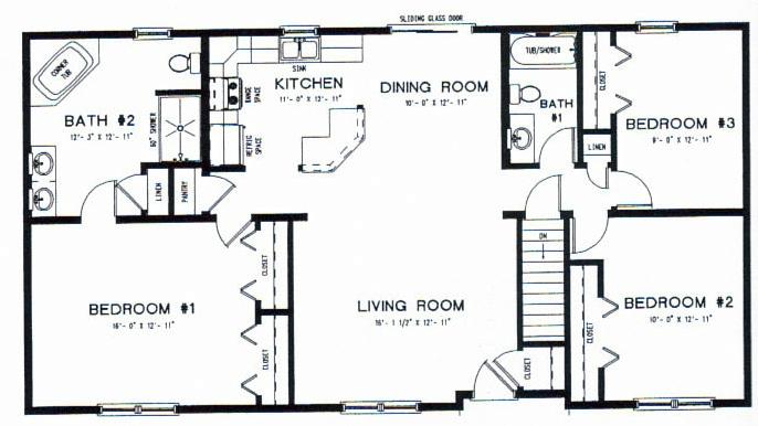Passaic I 1421 Sq  Ft  3 Bedrooms 2 Baths. ranch homes floor plans