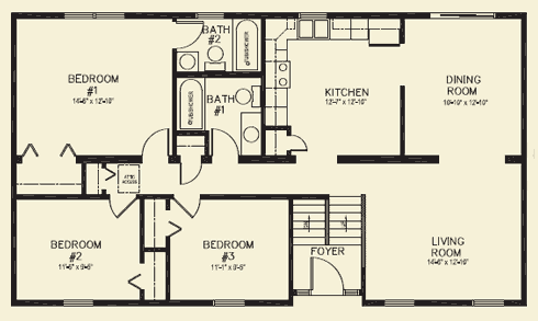 Ranch homes floor plans for House plans 3 bedroom 1 bathroom
